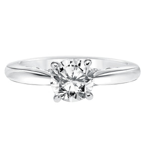 Fink's Exclusive Round Diamond Four Prong Scroll Detail Solitaire Engagement Ring