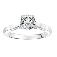 Fink's Exclusive .50ct Round Diamond Four Prong Scroll Detail Solitaire Engagement Ring