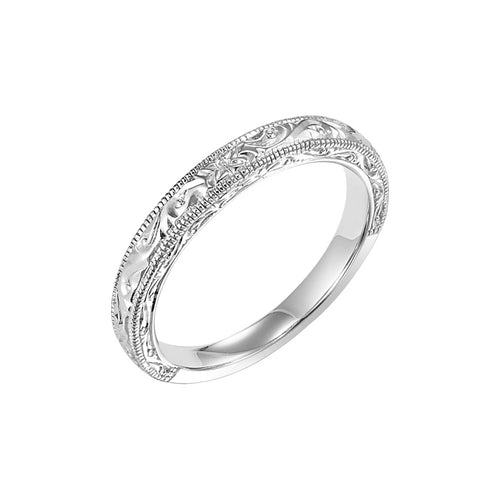 Fink's 18K White Gold Ladies' Engraved Coin Edge Wedding Band