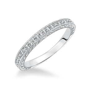 Fink's 14K White Gold Engraved Round Diamond Wedding Band