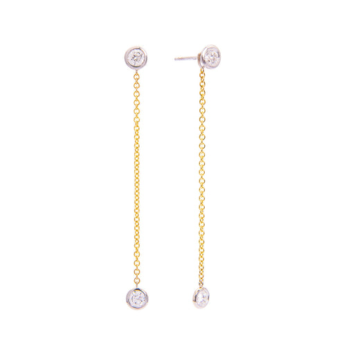 Sabel Collection 18K Yellow Gold Chain Diamond Drop Earrings