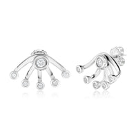 Sabel Collection 18K White Gold Bezel Stud and Wrap Small Earring Jacket Earrings in .60cttw