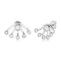 Sabel Collection 18K White Gold Bezel Stud and Wrap Earring Jacket Earrings in .95cttw