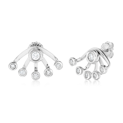 Sabel Collection 18K White Gold Bezel Stud and Wrap Earring Jacket Earrings