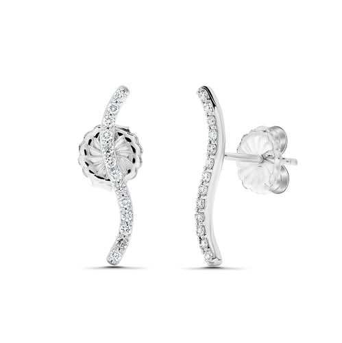 "Sabel Collection 18K White Gold Small ""S"" Diamond Stick Climber Earrings"