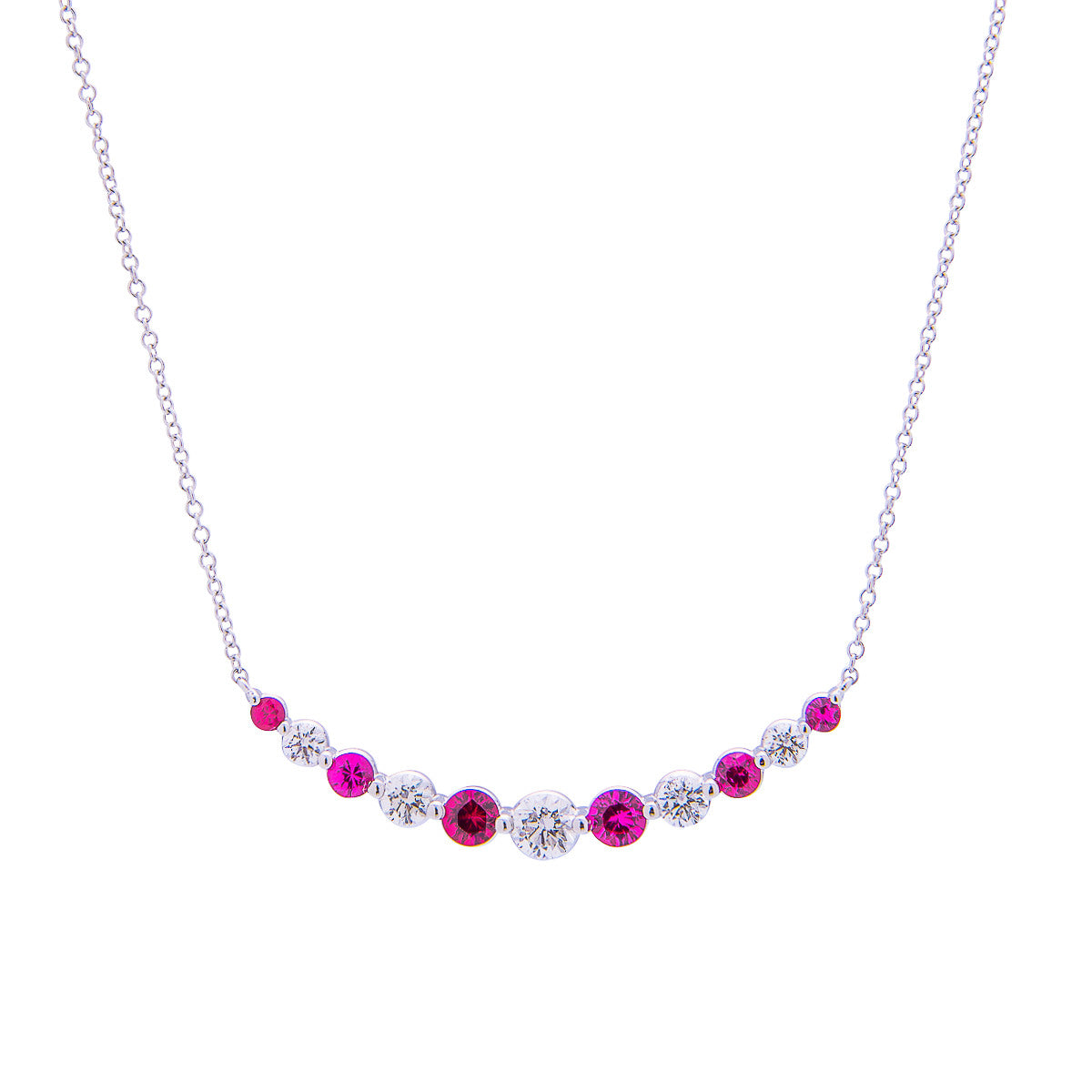 Sabel Collection 18K White Gold Round Diamonds and Round Ruby Curved Bar Necklace