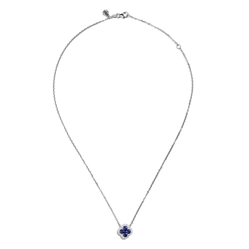 Sabel Collection 18K White Gold Round Sapphire and Round Diamond Flower Shape Pendant