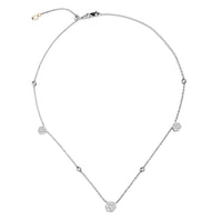 Sabel Collection 18K White Gold Diamond Cluster Station Necklace