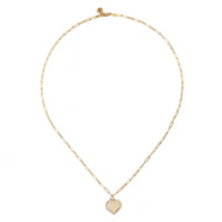 Sabel Collection 18K Yellow Gold Concave Heart Pendant with Diamonds