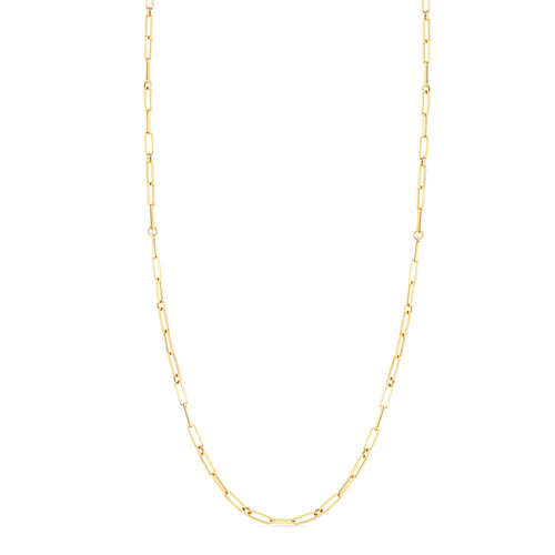 Roberto Coin Designer Gold 18K Yellow Gold Fine Paperclip Link Chain