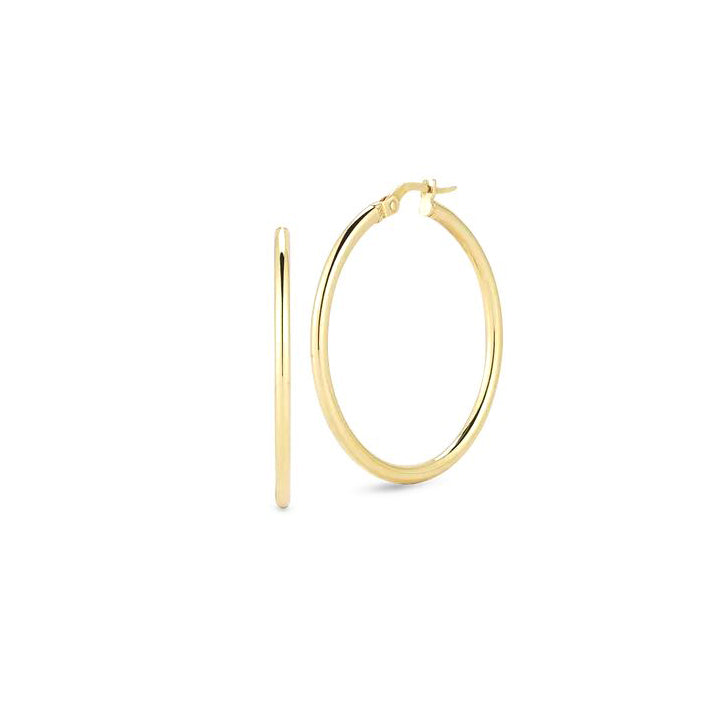 Roberto Coin Perfect Gold Hoops Medium 18K Yellow Gold Hoop Earrings