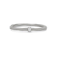 Roberto Coin Primavera 18K White Gold Twist Bracelet with Diamond Station