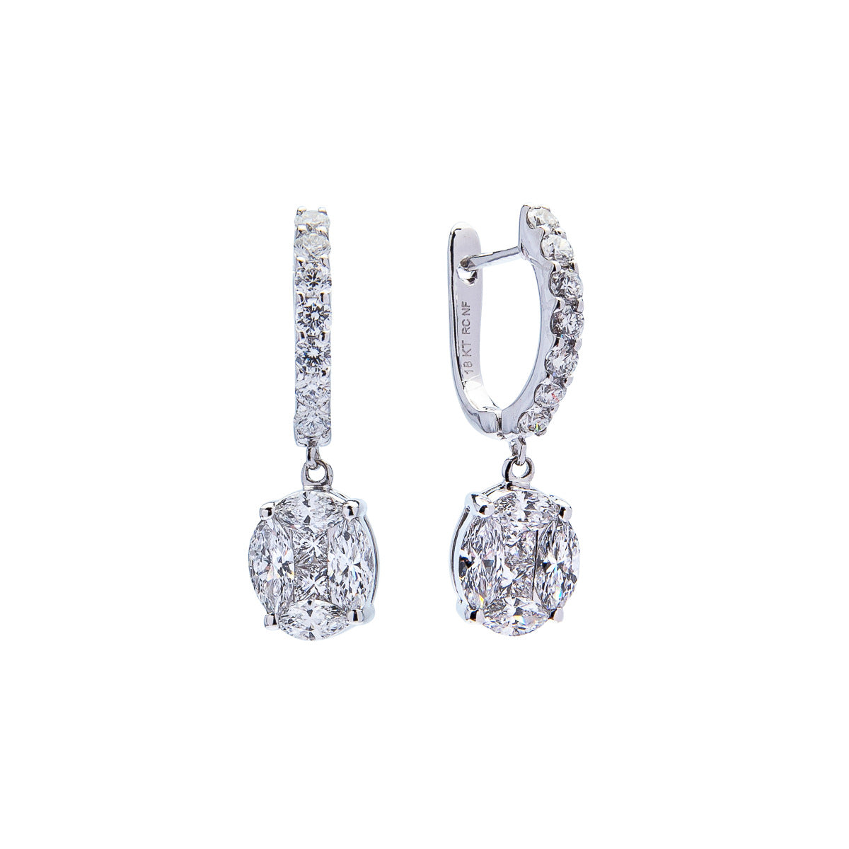 Roberto Coin Classic Diamond 18K White Gold Magic Diamond Drop Earrings