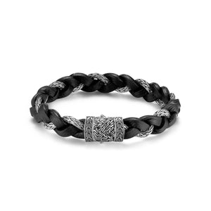 John Hardy Men's Classic Chain Silver and Black Leather Braided Bracelet