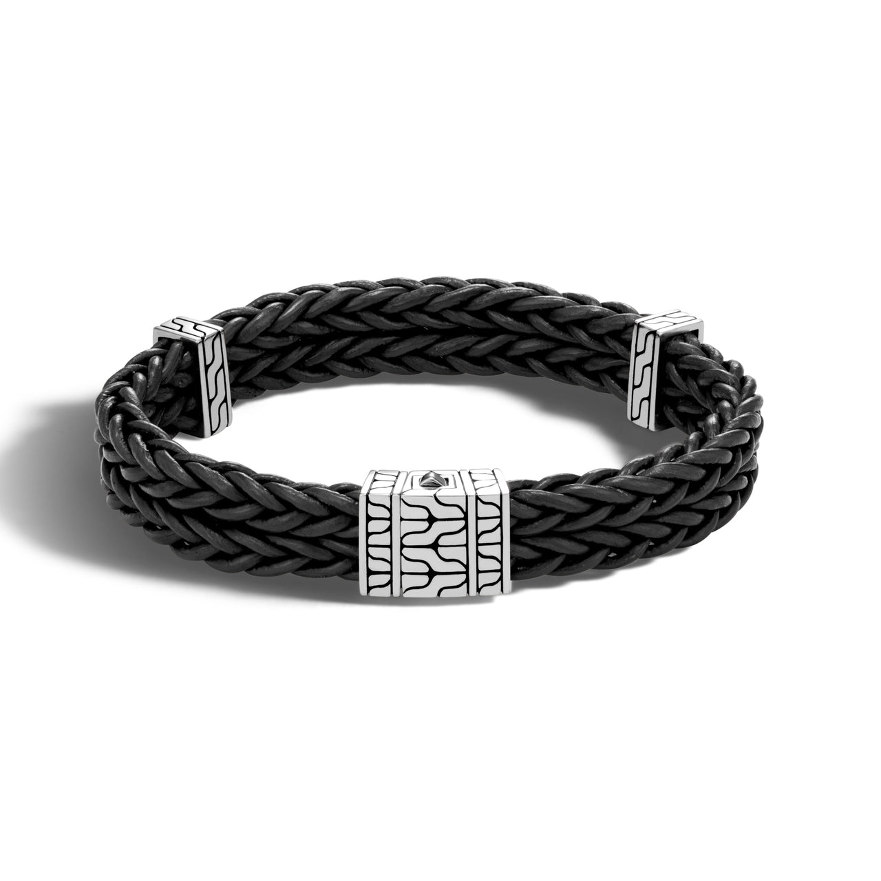 John Hardy Men's Heritage Limited Edition Classic Chain Double Chain Black Leather Bracelet