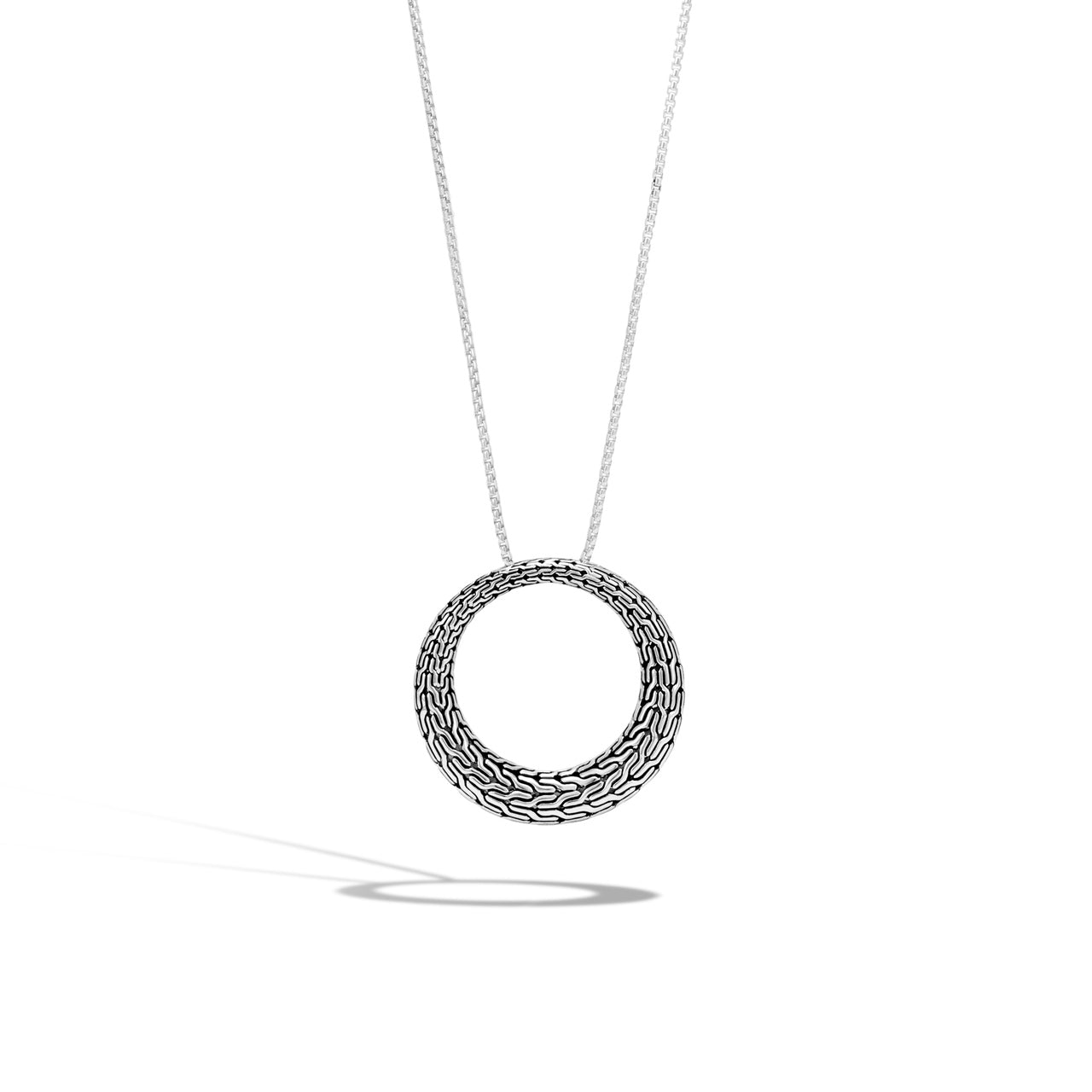 John Hardy Classic Chain Sterling Silver Circle Pendant Necklace