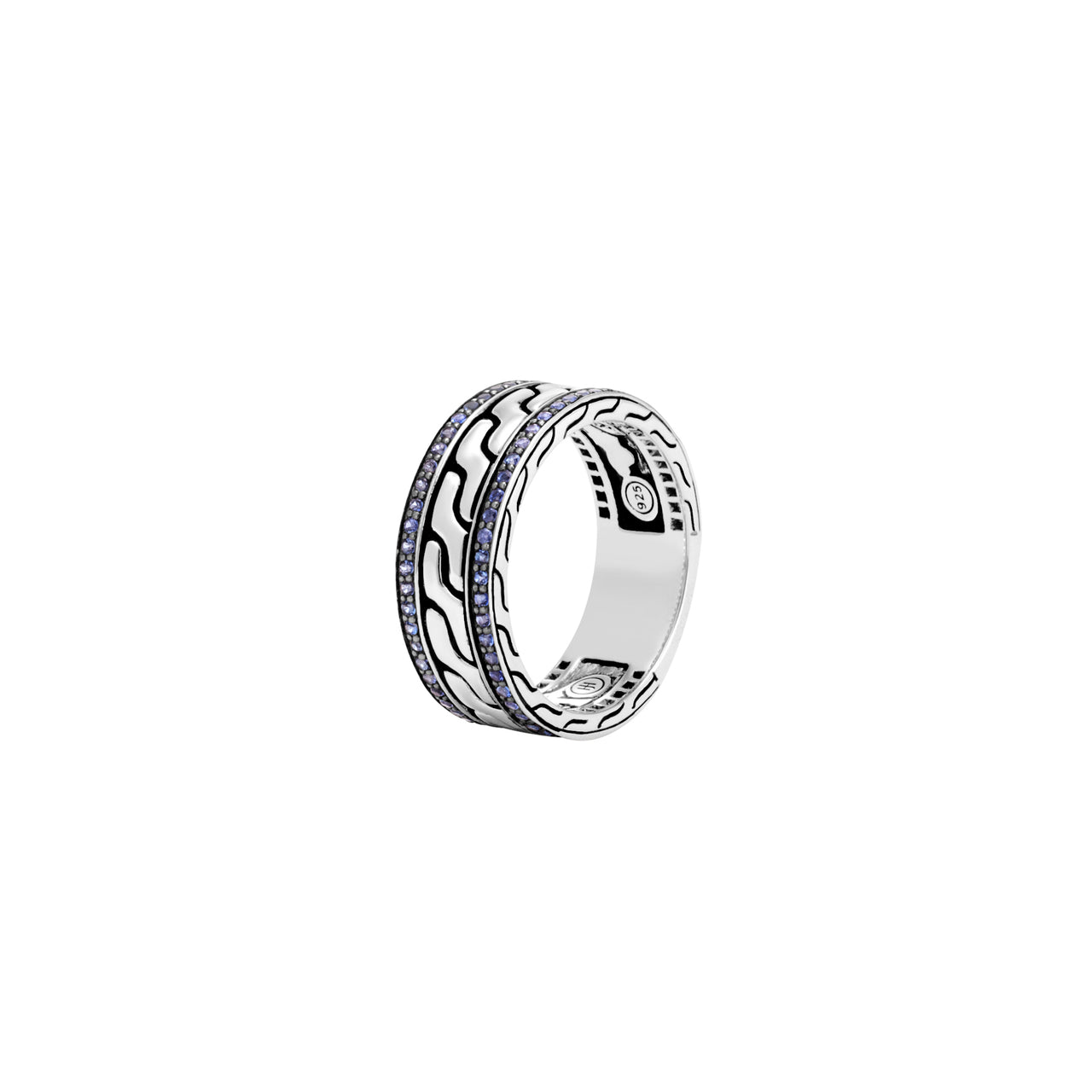 John Hardy Men's Classic Chain 9mm Silver Band with Blue Sapphire