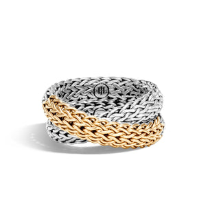 John Hardy Classic Chain Sterling Silver and 18K Yellow Gold Intersect Ring
