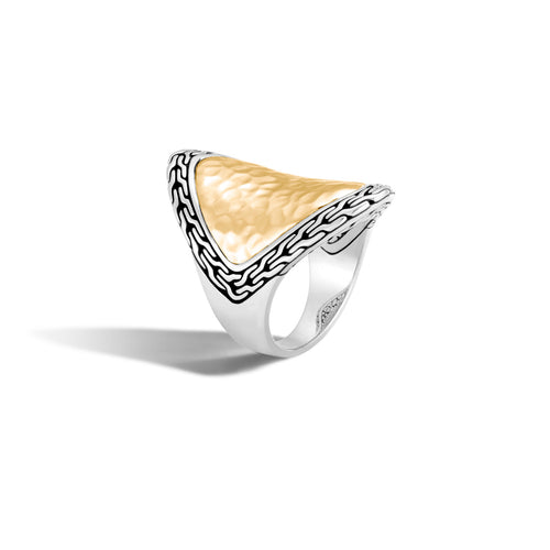 John Hardy Classic Chain Sterling Silver and 18K Yellow Gold Hammered Saddle Ring