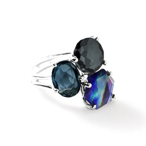 IPPOLITA Rock Candy® Sterling Silver 3-Stone Cluster Ring in Eclipse