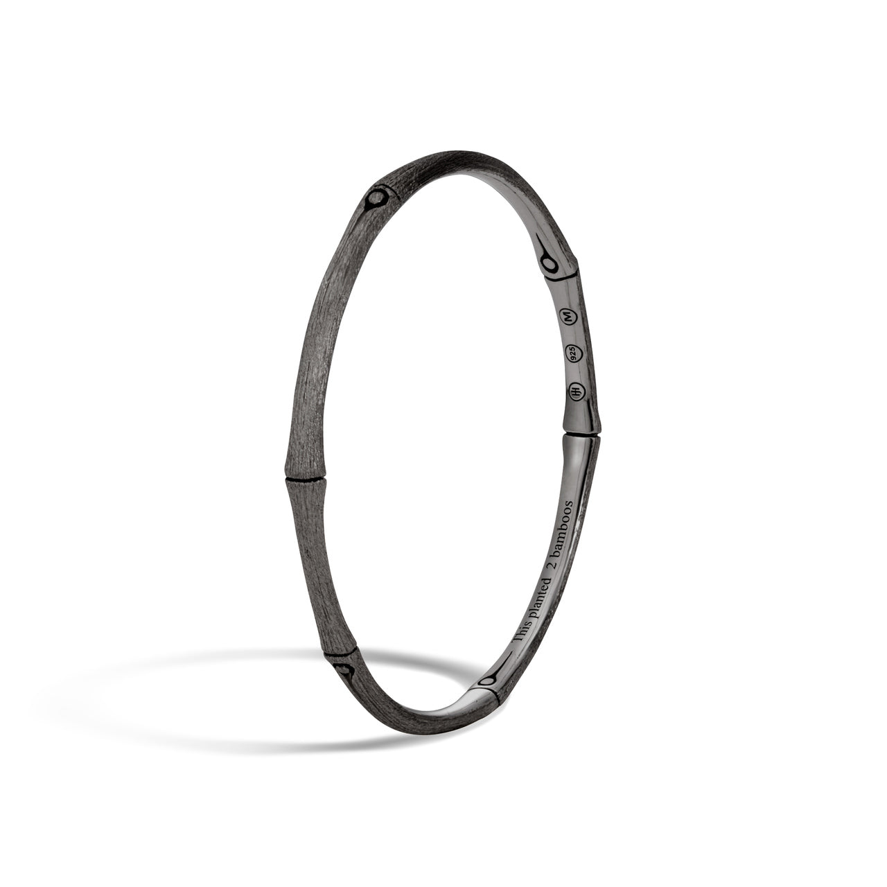 John Hardy Bamboo 4mm Black Rhodium Plated Sterling Silver Bangle