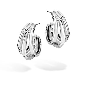 John Hardy Bamboo J Hoop Earrings