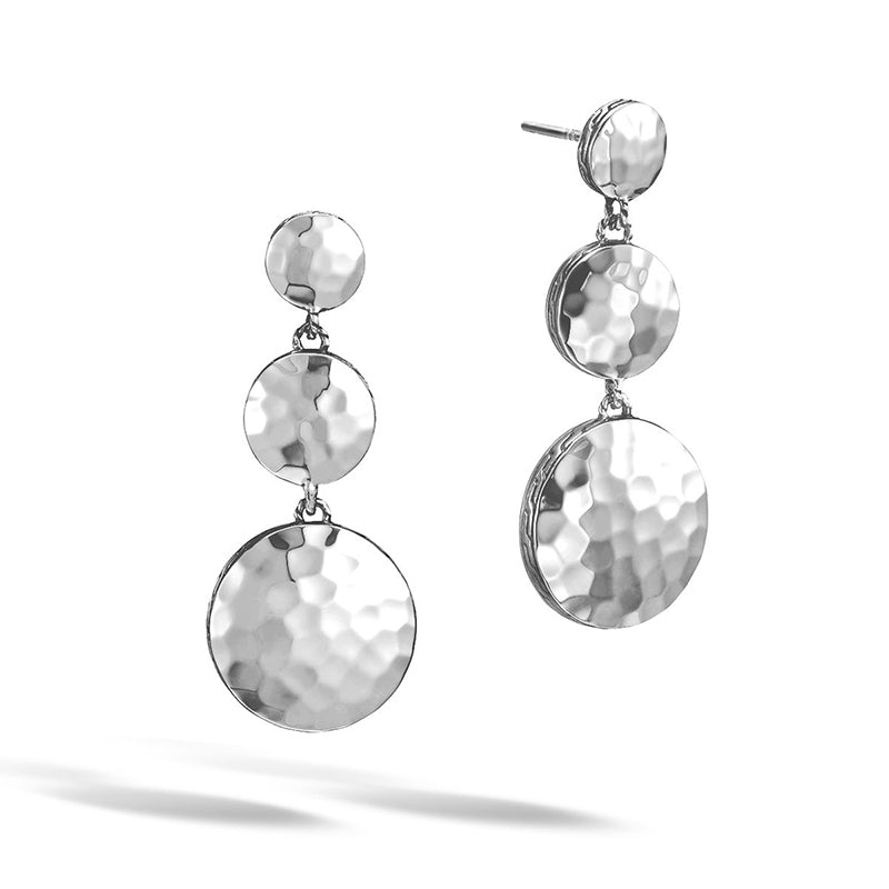 John Hardy Dot Triple Drop Linear Earrings with Palu Hand Hammering