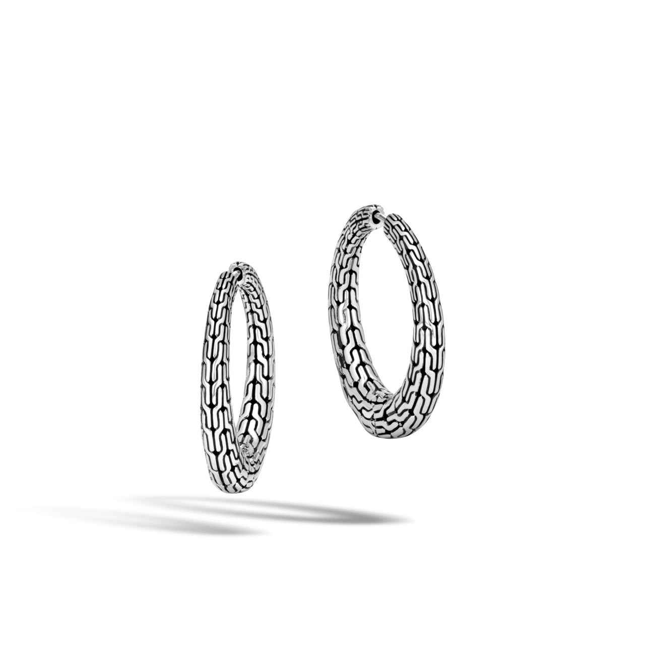 John Hardy Classic Chain Sterling Silver Graduated Hoop Earrings