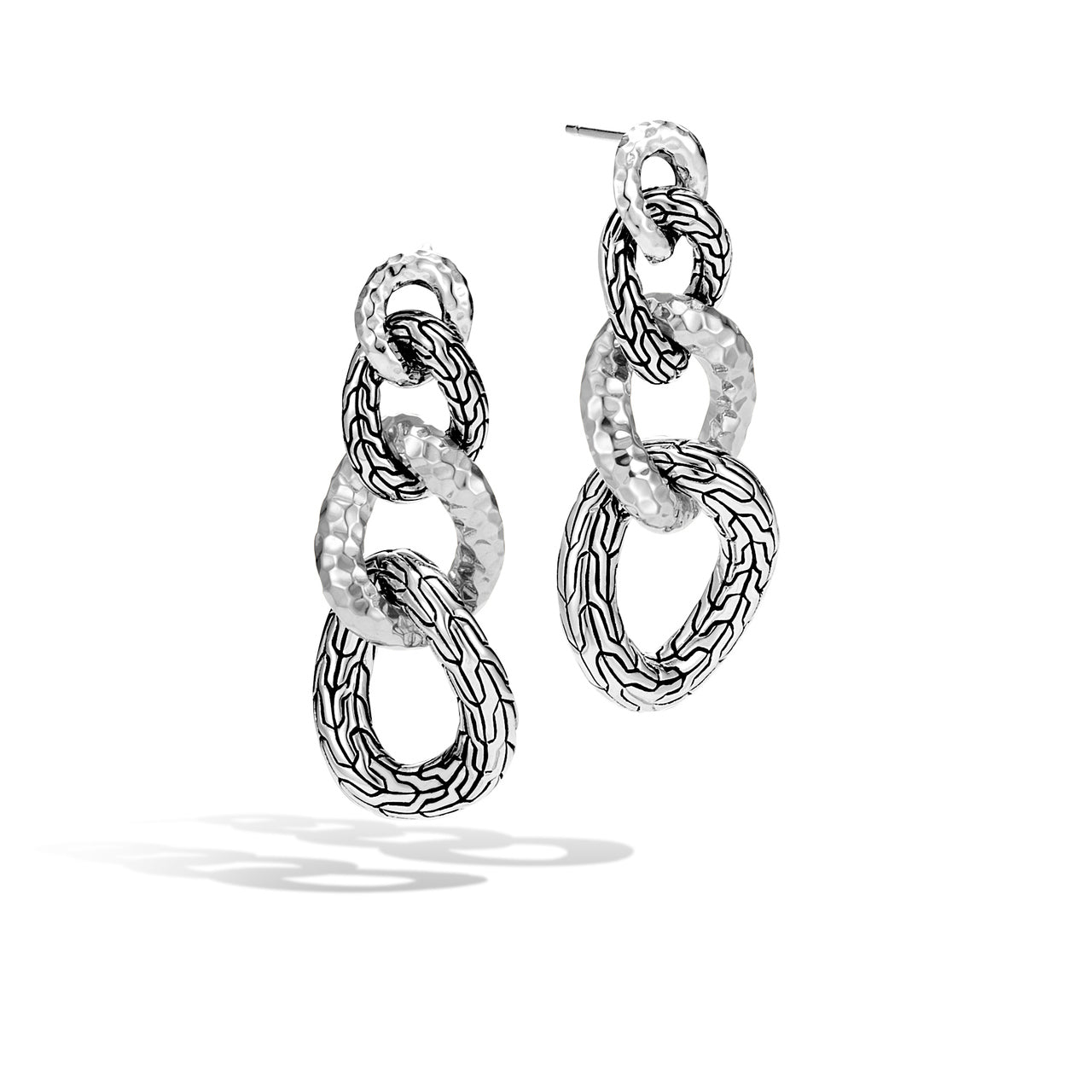 John Hardy Classic Chain Drop Earrings with Hammered Finish