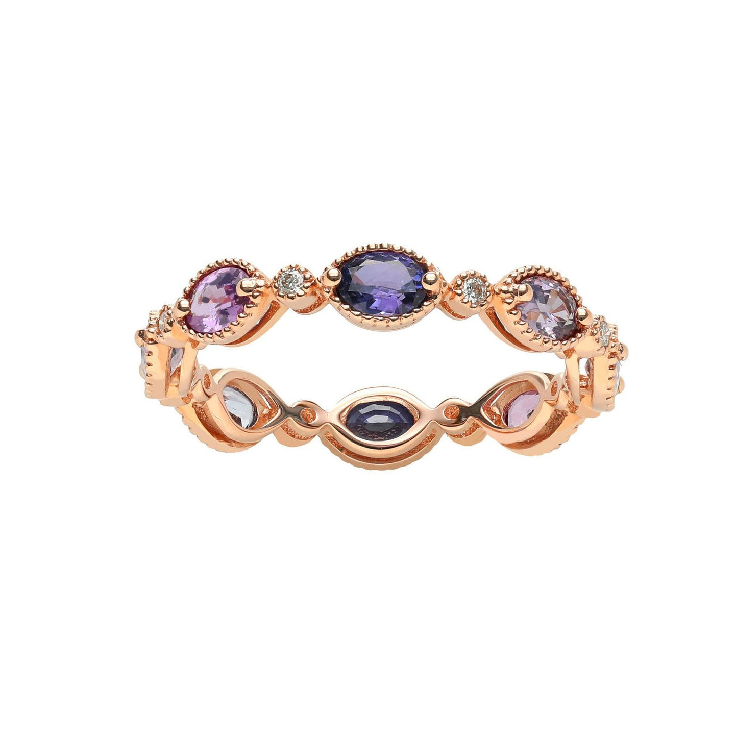 Marco Moore 14K Rose Gold Fancy Color Sapphire and Diamond Ring