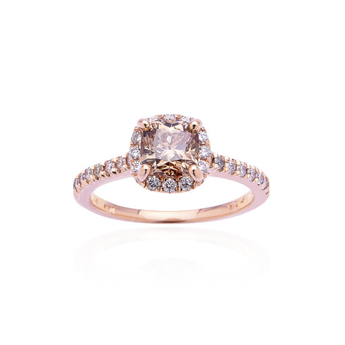 Sabel Collection 14K Rose Gold Cushion Cut Mocha Diamond and White Diamond Halo Ring