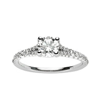 Fink's Exclusive 14K White Gold Round Diamond Center Stone Split Shank Engagement Ring