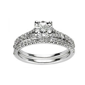 Fink's 14K White Gold Round Diamond Center Stone Split Shank Engagement Ring