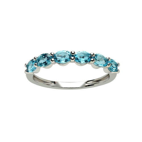 Marco Moore 18K White Gold Oval Blue Topaz Ring