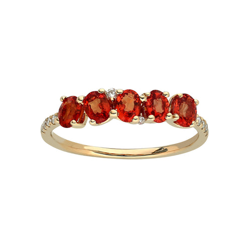 Marco Moore 14K Yellow Gold Oval Orange Sapphire and Diamond Ring