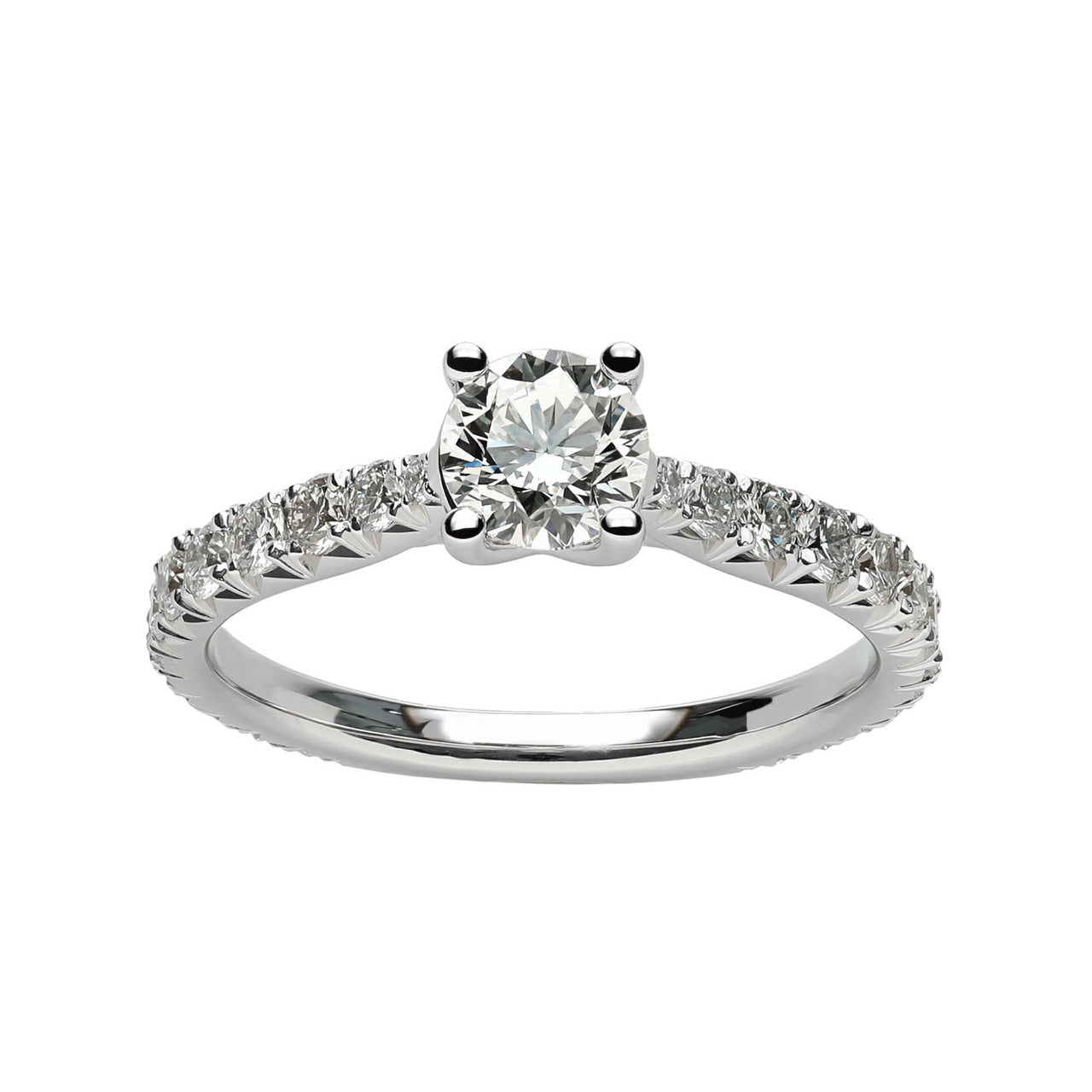 Fink's 14K White Gold Round Diamond Shank Accent Engagement Ring