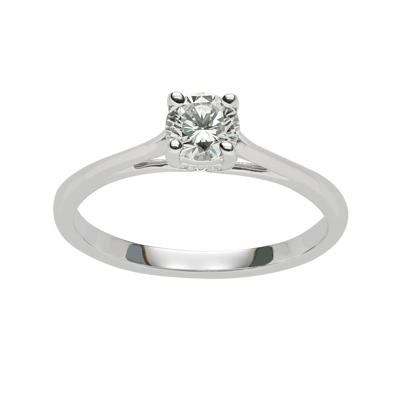 Fink's 14K White Gold Solitaire Diamond Cathedral Engagement Ring