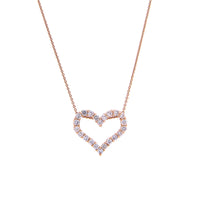 Sabel Collection 14K Pink Gold Diamond Heart Pendant