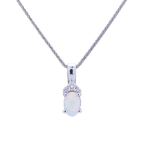Sabel Collection 14K White Gold Oval Opal and Diamond Cluster Pendant