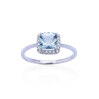 Sabel Collection 14K White Gold Cushion Aquamarine and Diamond Halo Ring