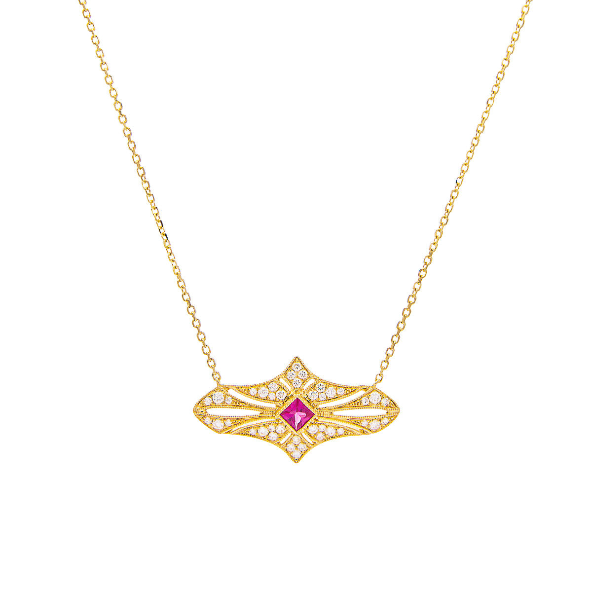 Sabel Collection 18K Yellow Gold Princess Cut Ruby and Diamond Vintage Pendant