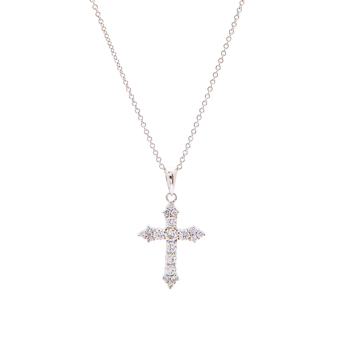 Sabel Collection 18K White Gold Round Diamond Cross Pendant