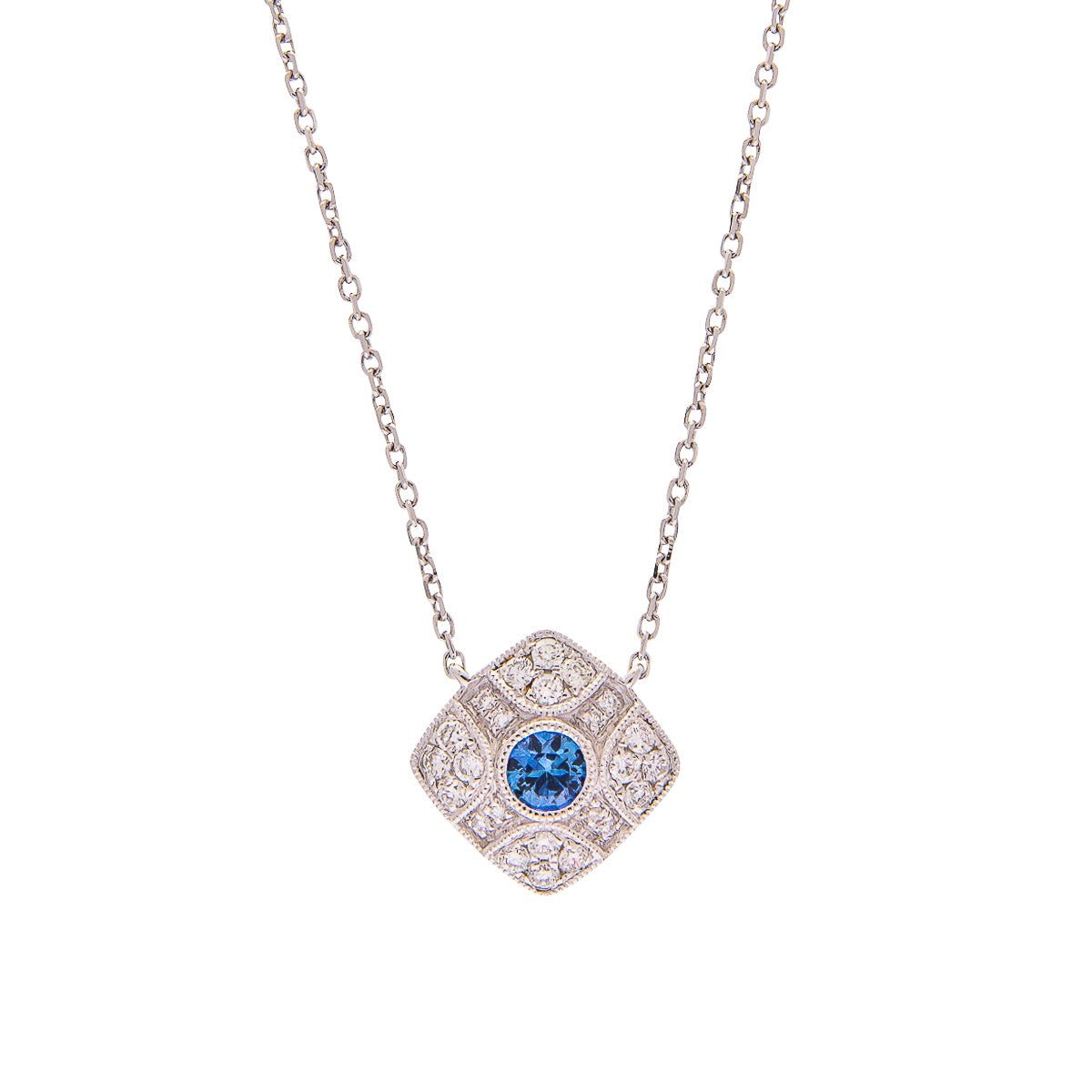 Sabel Collection 18K White Gold Round Sapphire and Diamond Vintage Style Pendant