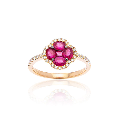 Marco Moore 18K Rose Gold Oval Ruby and Diamond Ring