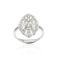 Sabel Collection 18K White Gold Detail Diamond Ring