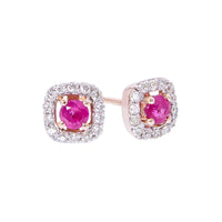 Sabel Collection 14K Rose Gold Round Ruby and Diamond Square Stud Earrings