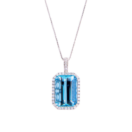 Sabel Collection 14K White Gold Emerald Cut Aquamarine and Diamond Halo Pendant