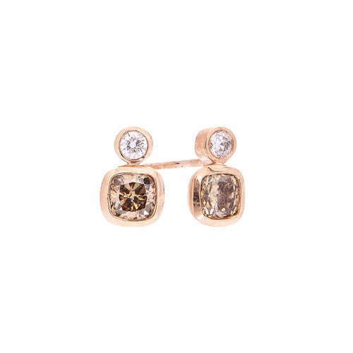 Sabel Collection 14K Rose Gold Bezel Set White Diamond and Cushion Shape Fancy Mocha Diamond Stud Earrings
