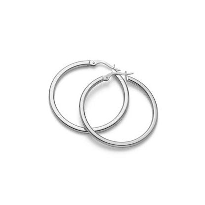 Roberto Coin Perfect Gold Hoops Medium White Gold Hoop Earrings