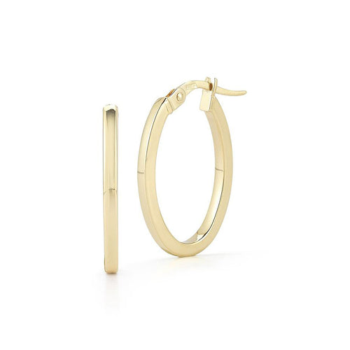 Roberto Coin Perfect Gold Hoops Medium Yellow Gold Oval Hoop Earrings